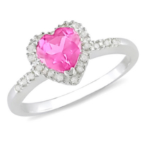 Tangelo 1 ct Created Pink Sapphire and 1/10 ct Diamond Heart Shape Ring in Silver 7.5
