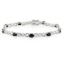 Sapphire and Diamond Accent Sterling Silver Bracelet - 7""