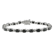 11 1/6 ct Black Sapphire and 0.02 ct Diamond Bracelet in Silver - 7 1/4""