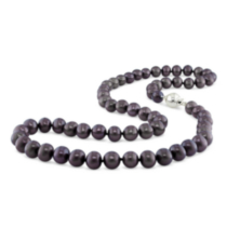 "9-10 mm Freshwater Black Pearl Necklace with Silver Ball Clasp; 18"" Long"