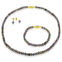 Freshwater Flat Black Pearl Necklace and Bracelet (4-5 mm) and Stud Earrings (5-6 mm) Set; Gold Tone