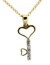 "Sterling silver and gold plated heart/key pendant with cubic stones on a 18"" chain"