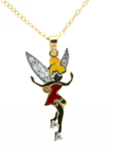 "Sterling Silver And Gold Plated ""Tinkerbell"" Pendant With Cubic Stones On A 18"" Chain"