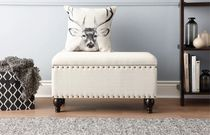 hometrends Upholstered Storage Nail Head Trim Bench