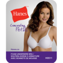 Hanes All Over Comfort foam underwire bra White 38D
