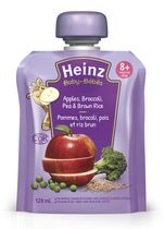 Heinz Junior Apple Broccoli Peas Brown Rice Pouch - 128 mL