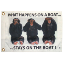 """Stays on the Boat"" NAUTI Funny Flag"