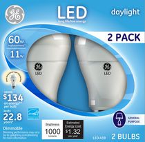 General Electric 11W Soft White LED  Bulb A19  - 2 Pack