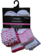 George Infant Girls Multi Cuff Crew Socks