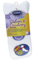 Dr.Scholls Ladies Extra Wide Crew Diabetic & Circulatory -2 pairs White