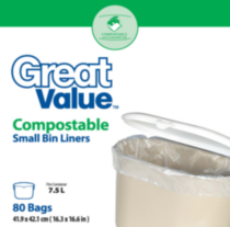 Great Value Compostables petit sacs à bac de recyclage