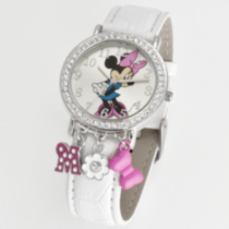 Adult Minnie Mouse analog watch white croco with charms
