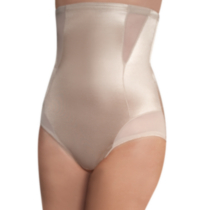cupid® Comfortable Firm Sheer Shaping Hi-Waist Brief Beige/bisque Large