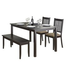 CorLiving Atwood 4-Piece Dining Set with Cappuccino Stained Bench and Set of Chairs