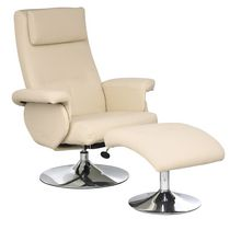 CorLiving Yalaha Leatherette Reclining Lounge Chair with Curved Ottoman - Ivory Cream