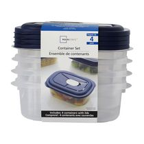 Mainstays 4-Pack Food Storage 1.2 L Containers Set with Microvent Lids