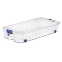 Sterilite Ultra™ 62 Liter Stadium Blue Wheeled Underbed Storage Box