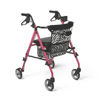 Medline Posh Pink Zebra Print Rolling Walker