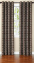 Chenille Jacquard Check Window Panel Brown