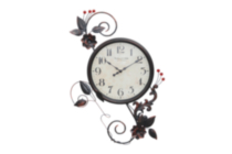 Floral Clock Dark brown wood