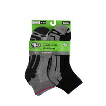 Athletic Works Ladies' Anklet Socks, Pack of 6 Grey/Black