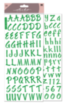 Sticko collant alphabet vert lime scintillement