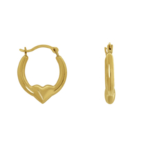 10K Yellow Gold Heart Creole Hoop Earrings