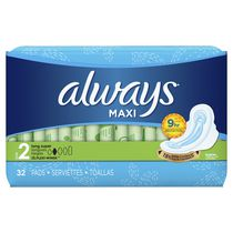 Always Maxi Long Super Pads with Wings