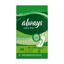 Serviettes minces Ultra Thin d'Always super longues avec protection Leakguard