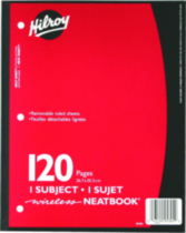 Hilroy Neatbook®, 1 Subject, 120 Page, 10-½ x 8, Assorted Colours