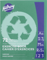 Hilroy Recycled Exercise Books, 72 pages, 1/2 plain, 1/2 interlined, 9-1/8 x 7-1/8, 72 Page