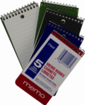 Mead Memo Books, 5 X 3, 120 Page, 5/Pack