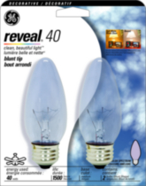 GE Reveal 40W Medium Base 2pk