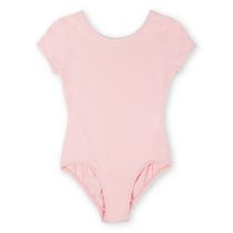 George Girls' Basic Short Sleeve Scoop Neck Leotard Pink Extra-small