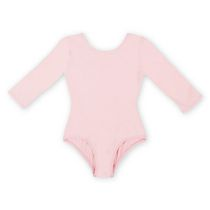 George Girls' Scoop Neck Basic Long Sleeve Leotard Pink Small