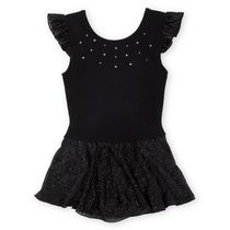 George Girls' Solid Flutter Sleeve Skirtall Leotard Black Large