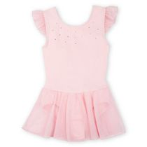George Girls' Solid Flutter Sleeve Skirtall Leotard Pink Medium