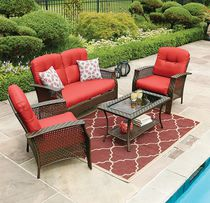 hometrends Tuscany 4 Piece Red Conversation Set
