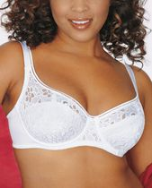 WonderBra Just my Size style 991 - Full figured / Underwire beautiful lace demi-bra White 44B