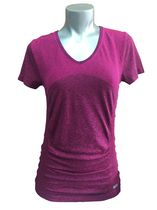 Athletic Works Seamless Ruched V-Neck Tee Shirt with Short Sleeve and Fashion Ruching Pink M/M