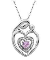PAJ Sterling Silver Pink Amethyst Mother and Child Heart Pendant