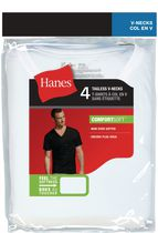Hanes Men's Tagless V-Neck T-Shirts, Pack of 4 L