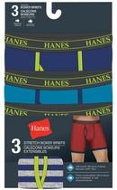 Hanes Men's Stretch Tagless Boxer Briefs, Pack of 3 XL/TG