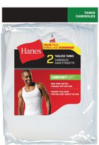 Hanes Men's Tagless Tanks, Pack of 2 L