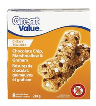 Barres granola aux pépites de chocolat, guimauves et Graham de Great Value