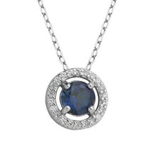 PAJ Sterling Silver September Birthstone Halo Pendant