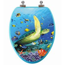 TopSeat High Res 3D Image Sea Turtle Elongated Regular Lid Closure Chromed Metal Hinges Toilet Seat