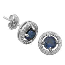 PAJ Sterling Silver September Birthstone Halo Earrings