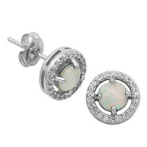 PAJ Sterling Silver October Birthstone Halo Earrings