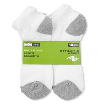 Athletic Works Boys Anklet Socks 10 Pack White